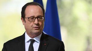 """Le président François Hollande fait un discours à l'inuaguration du""""Memorial du Debarquement et de la Liberation en Provence"""", à Toulon, le 16 mars 2017. (BORIS HORVAT / POOL/AFP)"""