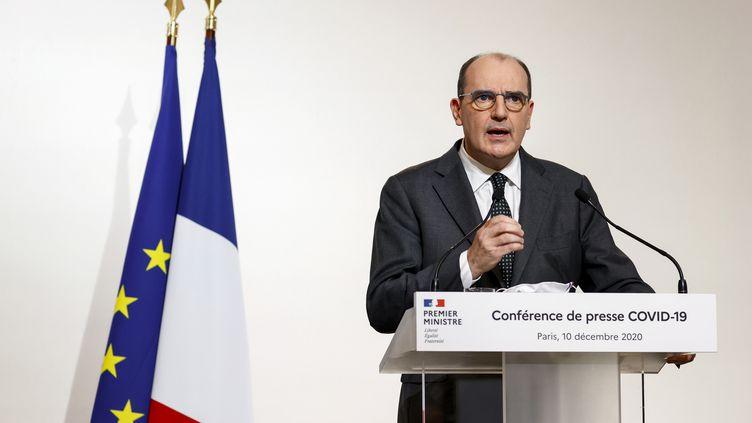Le Premier ministre, Jean Castex, le 10 décembre 2020 lors d'une conférence de presse sur le Covid-19, à Paris. (THOMAS SAMSON / AFP)