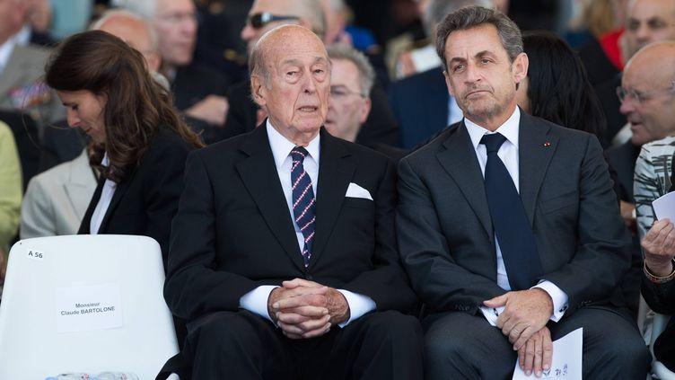 Les ex-présidents de la République Valéry Giscard d'Estaing et Nicolas Sarkozy le 6 juin 2014. (CPT / MAXPPP)