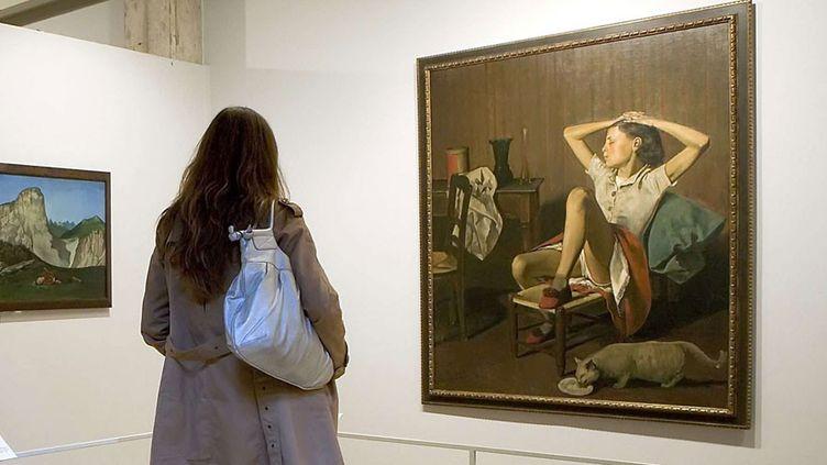 """""""Thérèse rêvant"""" de Balthus, exposée à la Fondation Pierre Gianadda à Martigny, Suisse, en juin 2008  (Olivier Maire / AP / SIPA)"""