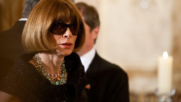 La toute-puissante rédactrice en chef de l'édition américaine de Vogue, Anna Wintour, le 14 mars 2012. (BRENDAN HOFFMAN / AFP)