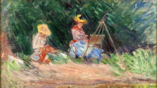 """Claude Monet, """"Blanche Monet peignant avec sa soeur Suzanne au bord de l'eau"""", vers 1887, Collection particulière  (photo Hugo Miserey)"""