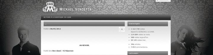 Le site internet deMickael Vendetta le 6 mai 2012. (CAPTURE D'ÉCRAN / FTVI)