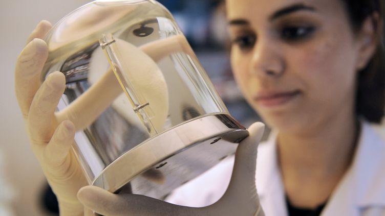 Une employée de la société Carmat inspecte uncœur artificiel, le 24 septembre 2009. (FRANCK FIFE / AFP)