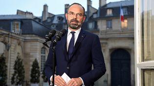 Le Premier ministre Edouard Philippe donne une conférence de presse, le 6 novembre à Paris, au lendemain de la grande grève à Paris. (BERTRAND GUAY / AFP)