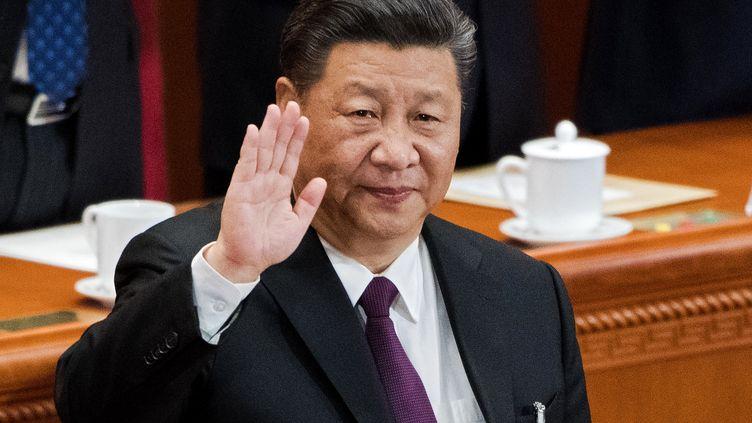 Le président chinois Xi Jinping,lors du 13e Congrès national populaire, le 17 mars 2018 à Pékin (Chine). (NICOLAS ASFOURI / AFP)