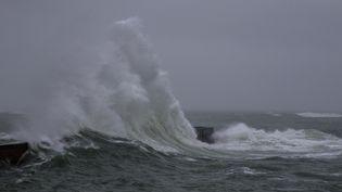 Une tempête touche les côtes du Morbihan à Ploemeur, le 30 janvier 2021. (MAUD DUPUY / HANS LUCAS / AFP)
