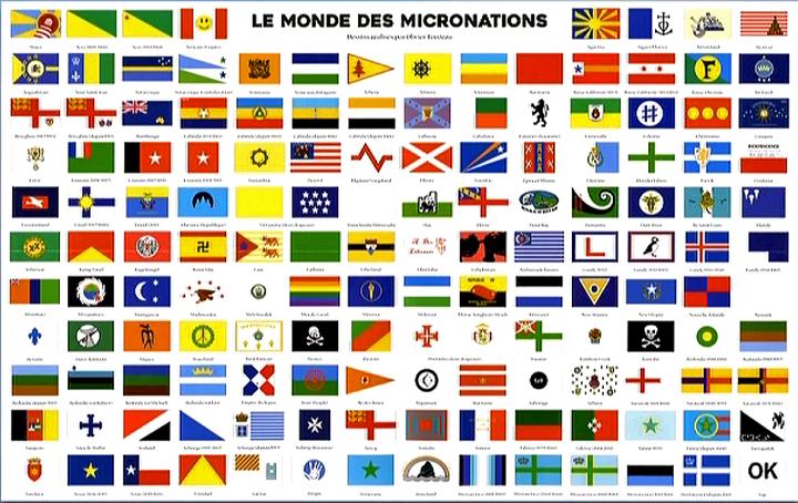 La carte des micronations recensées par Bruno Fuligni  (Dr )