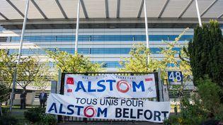 Manifestation devant le siège d'Alstom, le 27 septembre à Saint-Ouen (CHAMUSSY/SIPA)