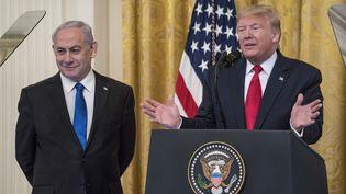 Le Premier ministre israélien, Benyamin Nétanyahou, et le président américain, Donald Trump, lors d'une conférence de presse à Washington, le 28 janvier 2020. (SARAH SILBIGER / GETTY IMAGES NORTH AMERICA / AFP)