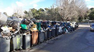 Au 13e jour de grève des éboueurs, les poubelles s'entassent dans les cités du 15e arrondissement de Marseille, en mars 2020. (Photo d'illustration). (Frédéric Chapuis RADIO FRANCE)