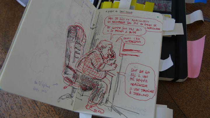 Croquis de Gérard Depardieu dans un carnet de Mathieu Sapin  (Laurence Houot / Culturebox)