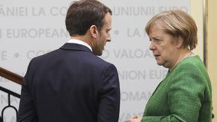 Angela MerkeletEmmanuel Macron, en mai 2019. (LUDOVIC MARIN / POOL / AFP POOL)