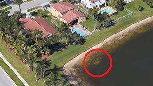 La voiture de William Moldt, immergée dans un bassin, à Wellington (Floride). (GOOGLE EARTH)