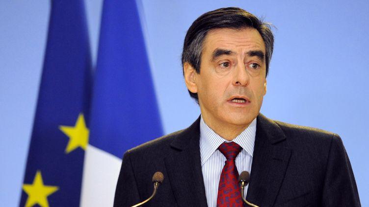Le Premier ministre, François Fillon, lors d'une allocution à Sarrebourg (Moselle), le 20 janvier 2012. (JEAN-CHRISTOPHE VERHAEGEN / AFP)