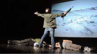 """La pièce de théâtre """"Djihad"""" présentée ici à la Maison des cultures de Molenbeek, à Bruxelles, le 3 mars 2015.  (SIPANY/SIPA)"""