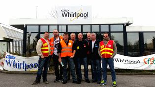 Les salariés en lutte de l'usine Whirlpool à Amiens, en mars 2017 (RADIO FRANCE / BENJAMIN ILLY)