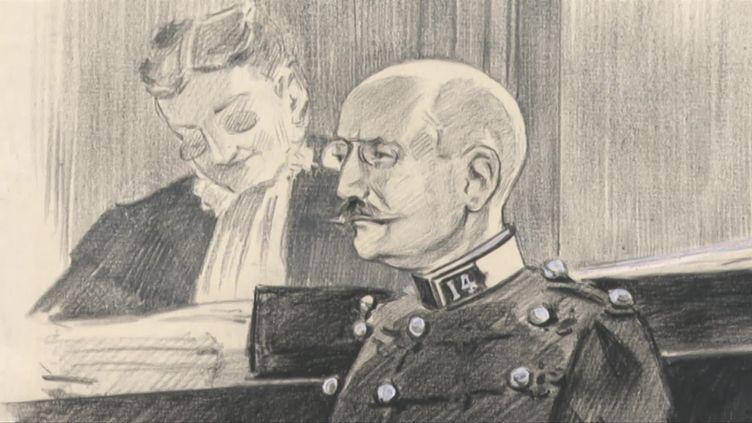 Alfred Dreyfus dans le box des accusés (T.Poirier / France Télévisions)