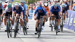 L'Italien Giacomo Nizzolo remet son titre de champion d'Europe sur route en jeu, dimanche 12 septembre à Trente. (DAMIEN MEYER / AFP)