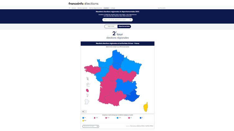 Consultez notre moteur de recherche pour connaître les résultats des élections régionales et départementales près de chez vous. (FRANCEINFO)