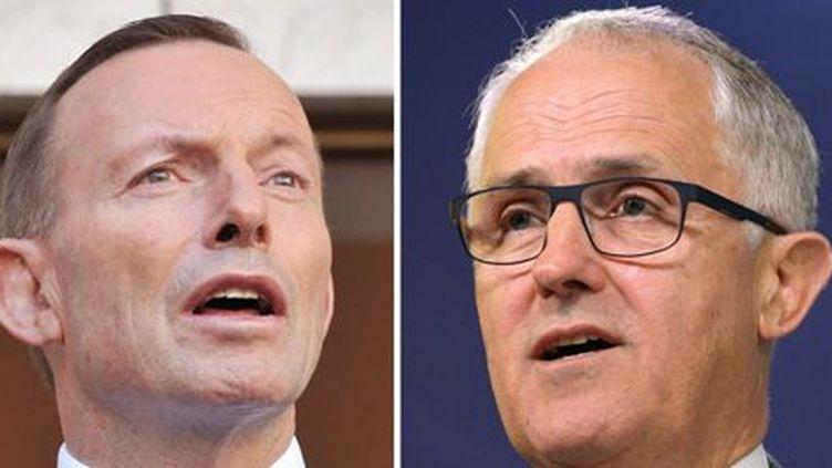 A gauche: le gaffeur, l'ancien Premier ministre australien Tony Abbott (photo prise le 9 septembre 2015). A droite, le multimillionnaire, le nouveau Premier ministre Malcom Turnbull (photo prise le 24 septembre 2013, alors qu'il était ministre des Communications) (AFP - Greg Wood)