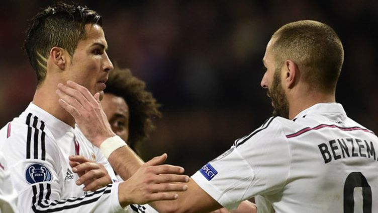 Cristiano Ronaldo et Karim Benzema (Real Madrid-Liverpool) (JAVIER SORIANO / AFP)