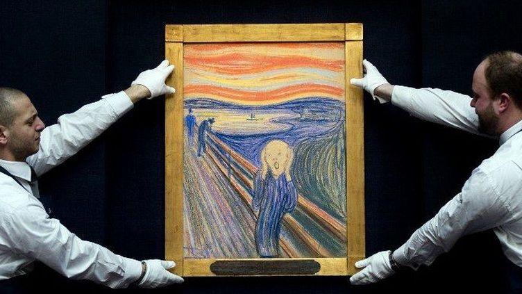 """""""Le Cri"""" d'Edvard Munch vendu aux enchères à 119 millions de dollars par Sotheby's  (CARL COURT / AFP)"""