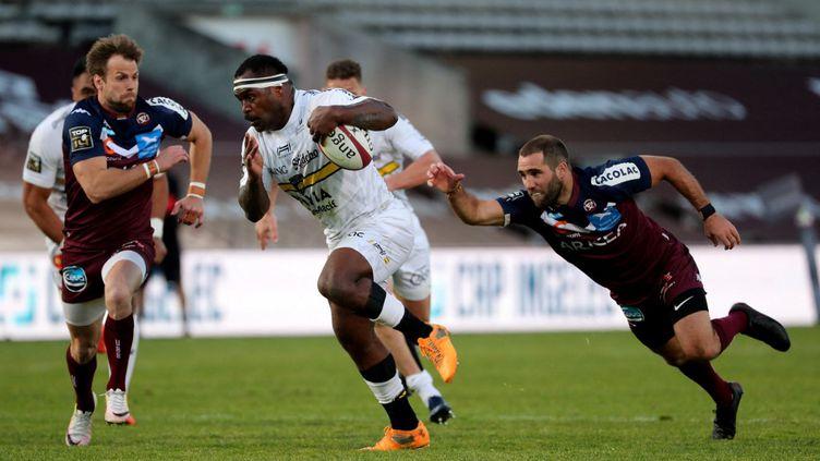 Le Stade Rochelais l'a emporté contre Bordeaux-Bègles ce samedi 27 mars.  (ROMAIN PERROCHEAU / AFP)