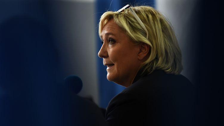 La présidente du Front national, Marine Le Pen, à Carpentras (Vaucluse), le 8 octobre 2017. (ANNE-CHRISTINE POUJOULAT / AFP)