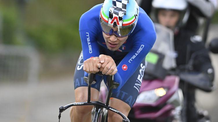 Filippo Ganna devient le premier Italien champion du monde du contre-la-montre (ERIC LALMAND / BELGA MAG)