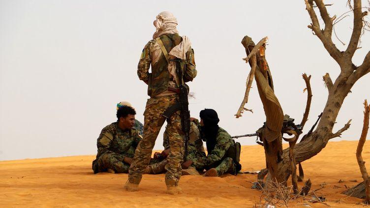 Des combattants du mouvement touareg de libération de l'Azawad font une pause lors d'une patrouille dans le désert, près de Menaka au Mali, le 14 mars 2020. (SOULEYMANE AG ANARA / AFP)