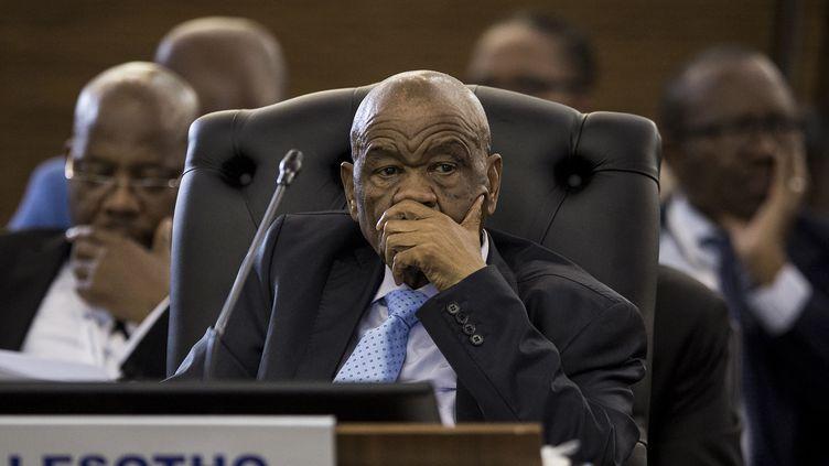Le Premier ministre du Lesotho, Thomas Motsoahae Thabane, lors de la cérémonie de clôture du 37e sommet des chefs d'État et de gouvernement de la Communauté de développement de l'Afrique australe (SADC) à Pretoria, le 20 août 2017 (GULSHAN KHAN / AFP)