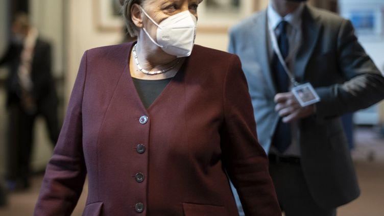La chancelière Angela Merkel à Bruxelles (Belgique), le 16 octobre 2020. (THIERRY MONASSE / AFP)