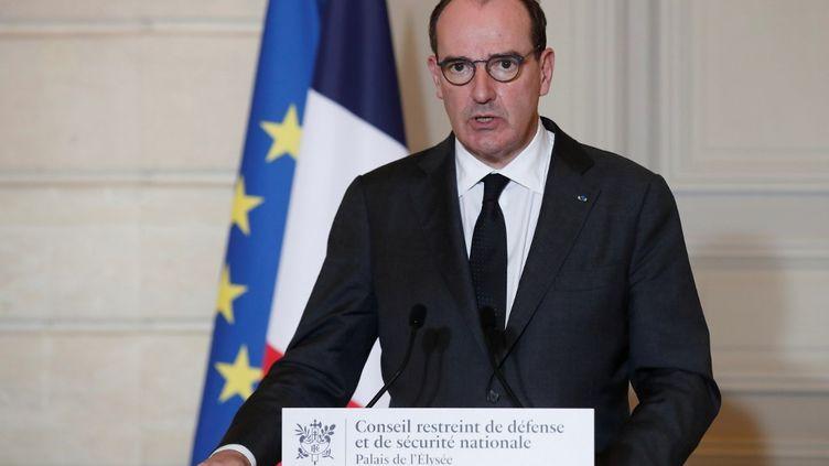 Le Premier ministre, Jean Castex, le 29 janvier 2021 à l'Elysée. (BENOIT TESSIER / AFP)