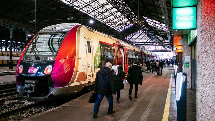 Des passagers d'un Transilien à la gare Saint-Lazare, le 7 janvier 2020, lors d'un mouvement de grève contre la réforme des retraites. (MATHIEU MENARD / HANS LUCAS / AFP)