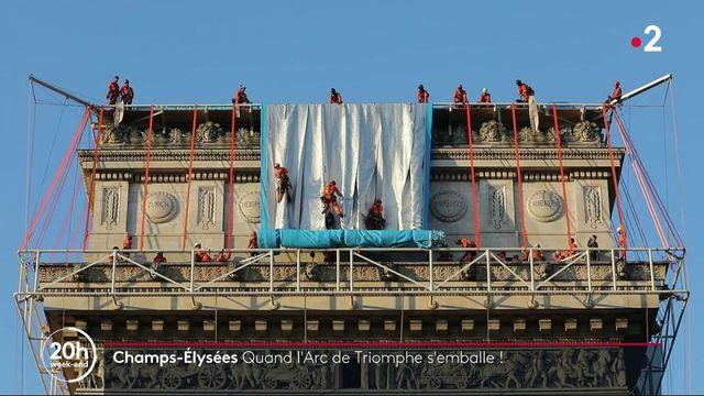 Champs-Elysées : l'Arc de triomphe emballé par l'œuvre de Christo