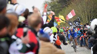 Philippe Gilbert, lors du Paris-Roubais entre Compiègne et Roubaix, le 14 avril 2019. (STEPHANE MANTEY / POOL)