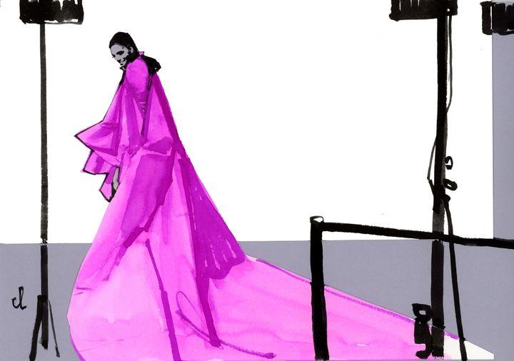 Marc-Antoine Coulon : croquis Giambattista Valli haute couture printemps-été 2019 en janvier 2019 à Paris  (Marc-Antoine Coulon)