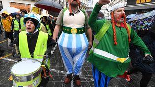 Des manifestants grimés en Astérix et Obelix, le 2 février 2019 à Montpellier (Hérault). (PASCAL GUYOT / AFP)