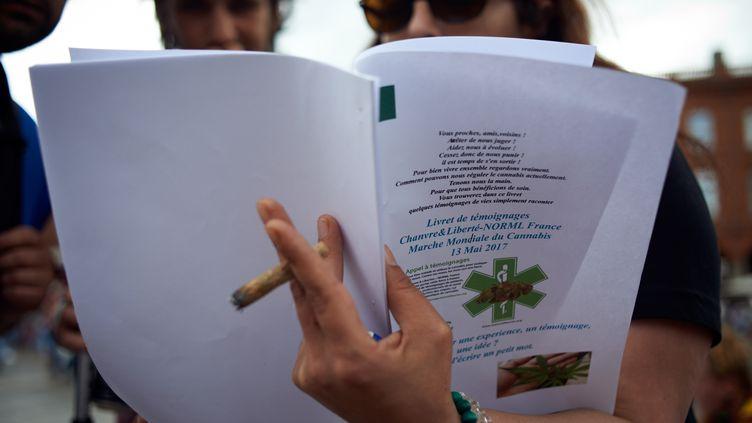 Une marche pour la légalisation du cannabis, le 13 mai 2017 à Toulouse (Haute-Garonne). (ALAIN PITTON / NURPHOTO / AFP)