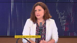 "Roxana Maracineanu, ministre chargée des Sports était l'invitée du ""8h30 franceinfo"", jeudi 20mai 2021. (FRANCEINFO / RADIOFRANCE)"