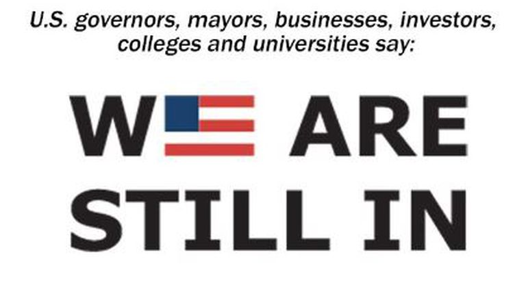 """Capture écran de la pétition """"We are still in"""", signée par des poids lourds de l'économie américaine pour contester le retrait des Etats-Unis de l'accord de Paris sur le climat, mardi 6 juin 2017. (WE ARE STILL IN)"""