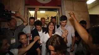 La candidate écologiste Michèle Rubirola, après sa victoire au second tour des municipales à Marseille, devant sa permanence, le 28 juin 2020. (VALLAURI NICOLAS / MAXPPP)