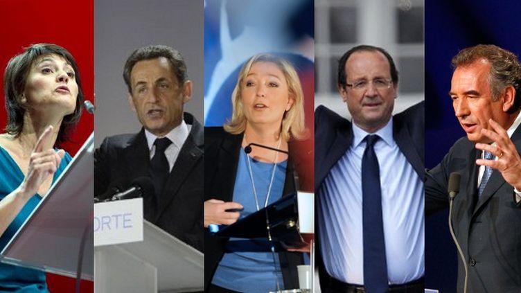 Nathalie Arthaud, Nicolas Sarkozy, Marine Le Pen, François Hollande et François Bayrou, cinq des dix candidats à la présidentielle 2012. (AFP / REUTERS)