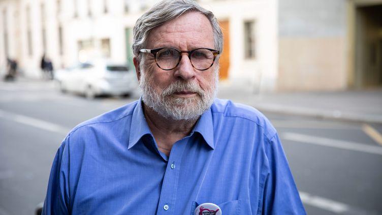 Patrice Blanc, le président des Restos du Coeur, lors du lancement de la collecte nationale le 7 mars 2019 à Paris. (ALEXIS SCIARD  / MAXPPP)