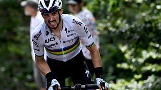 Julian Alaphilippe sauve l'honneur du camp français, avec sa victoire lors de la première étape, à Landerneau. Mais ici, il s'est retrouvé en difficulté lors de la deuxième ascension du mont Ventoux. (ANNE-CHRISTINE POUJOULAT / AFP)