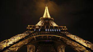 La Tour Eiffel illuminée lors de la COP21 au Bourget, le 11 décembre 2015. (PATRICK KOVARIK / AFP)