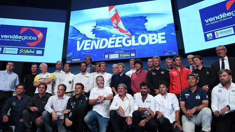 L'ensemble des skippers qui seront au départ du prochain Vendée Globe. (FRANCK FIFE / AFP)