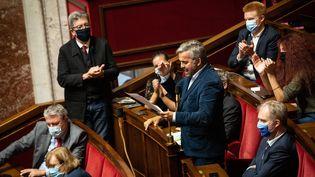Desdéputés deLa France insoumise à l'Assemblée nationale, à Paris, le 6 octobre 2020. (AMAURY CORNU / HANS LUCAS / AFP)