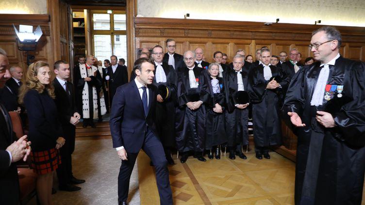 Emmanuel Macron lors del'audience solennelle de rentrée de la Cour des comptes, lundi 22 janvier 2018. (AFP)